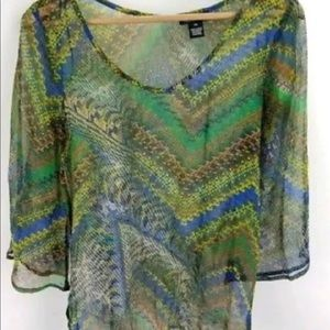 Lucky Brand Sheer Belted V-Neck Aztec Top